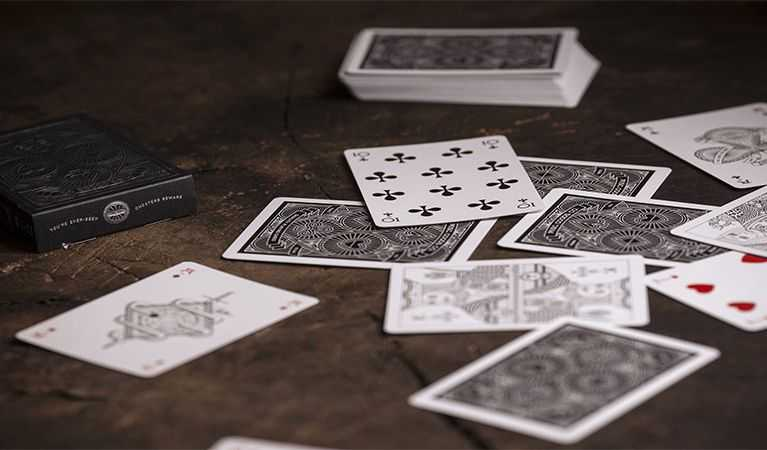 Cards on a table.