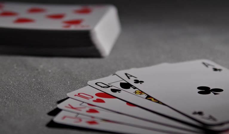 Poker cards on a table.