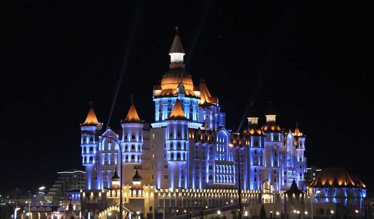 A building in Sochi at night