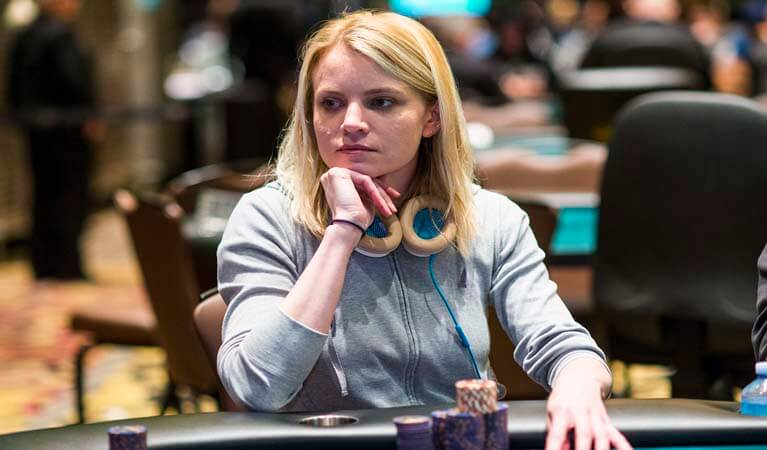 Cate Hall at a poker table.