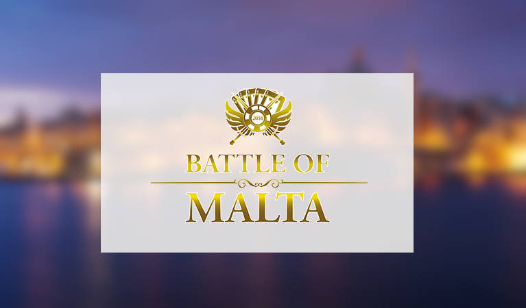 Battle of Malta's logo against a background of Malta at night.