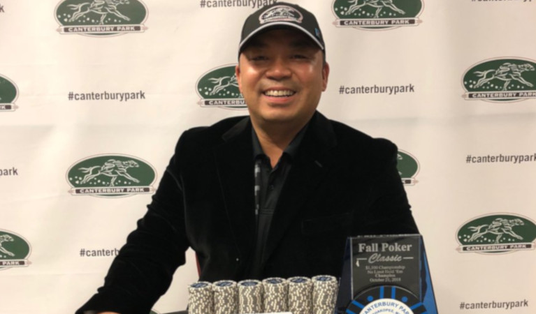 Le's photo op after winning the Canterbury Card Casino Poker Fall Game.