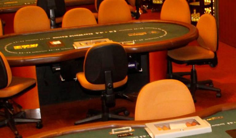 Poker at a casino floor.