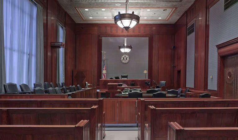 An empty court room in the US