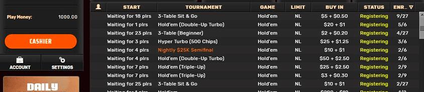sit n go tournaments