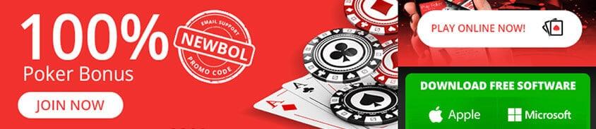 100% poker bonus and downloadable app for apple (ios) and microsoft (windows)