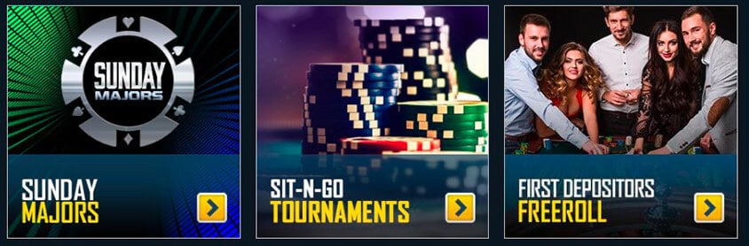 poker login and bonus with sunday majors, sit n go tournaments and a freeroll for first depositors