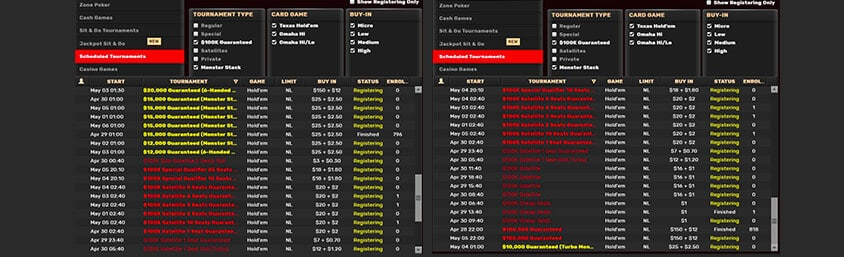 tournament interface screenshot showing poker game options