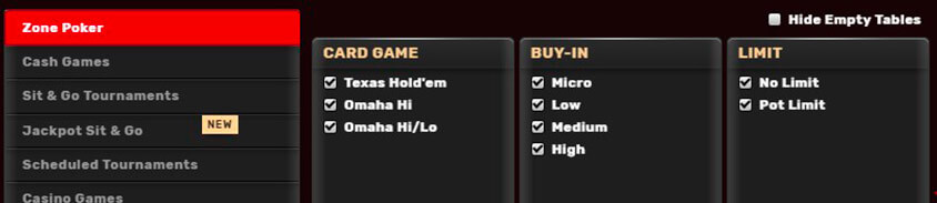 different game types from the bovada poker client