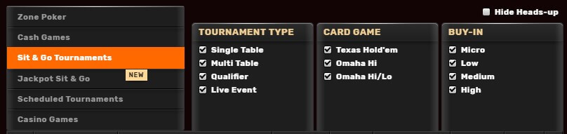 game types like omaha, holdem and zone poker