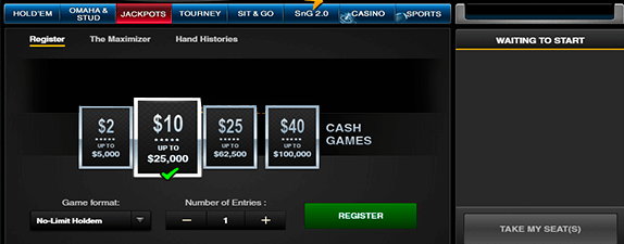 jackpot eligibility and registration screen