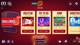 Zynga poker mobile app main menu screen