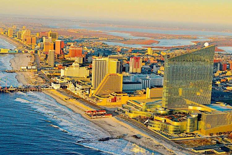 Atlantic City's casinos doting the coast line.