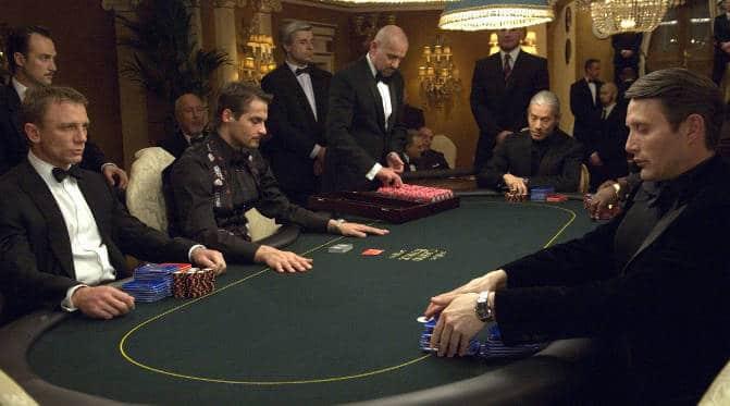 James Bond facing off Le Chiffre in Casino Royale
