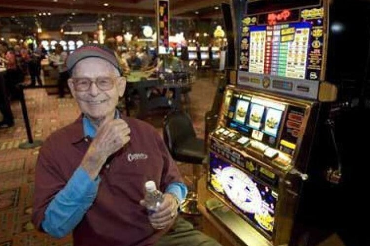 Elmer Sherwing at a casino, always playing.