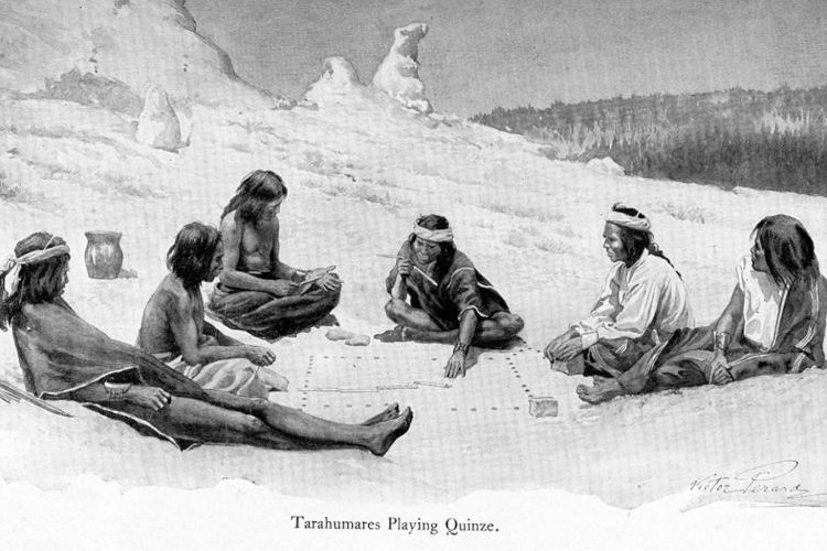 Native Americans playing a game of Quinze.