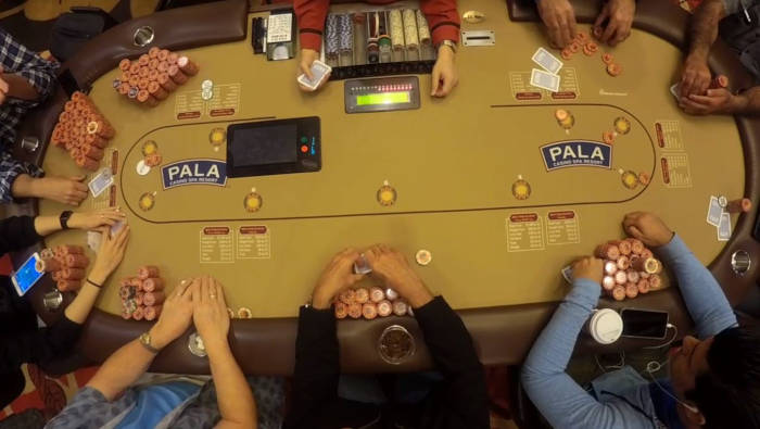 Pala Poker land-based game in progress.