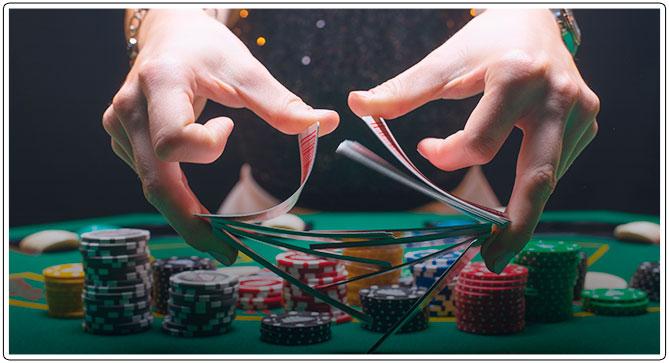 Image of Female Poker Dealer dealing cards