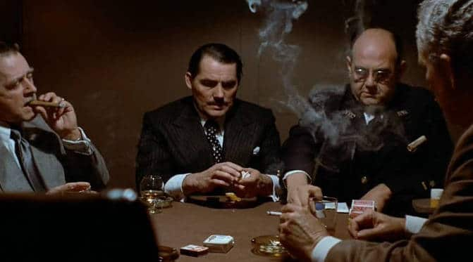 A poker scene in The Sting, a movie about professional poker cheats.