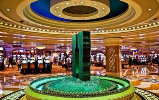 A fountain in the middle of a casino.