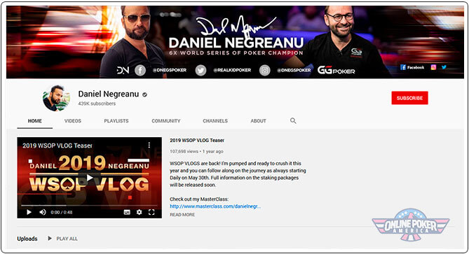Daniel Negreanu Youtubes Channel