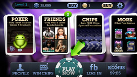 Fresh Deck Poker mobile app menu screen