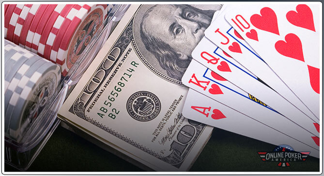 Image of Poker Rake Money with Poker Cards