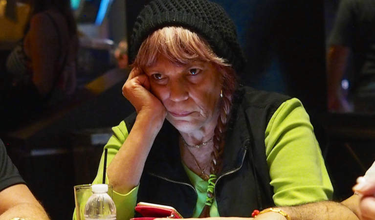 Barbara Enright playing a game of poker.