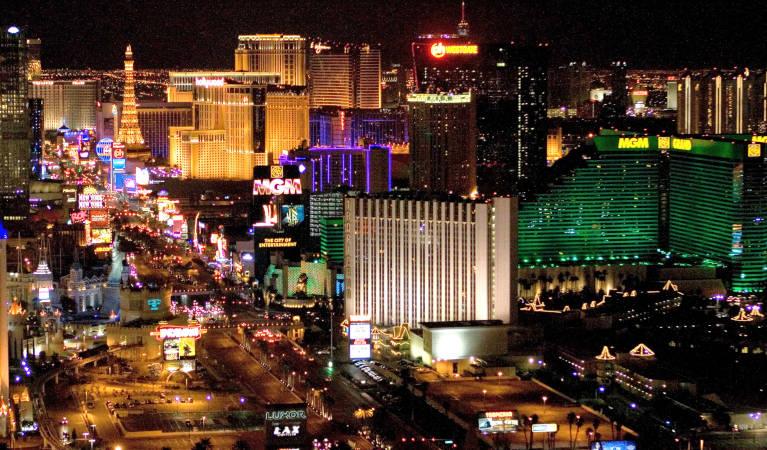 A photo of Las Vegas at night