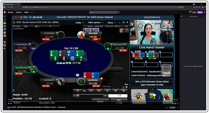 Gambar dari CourtieBee Poker Twitch Streamer