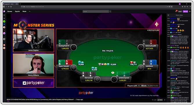 Image of Twitch Poker Tournament Channel PartyPoker