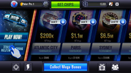WSOP mobile app main menu screen